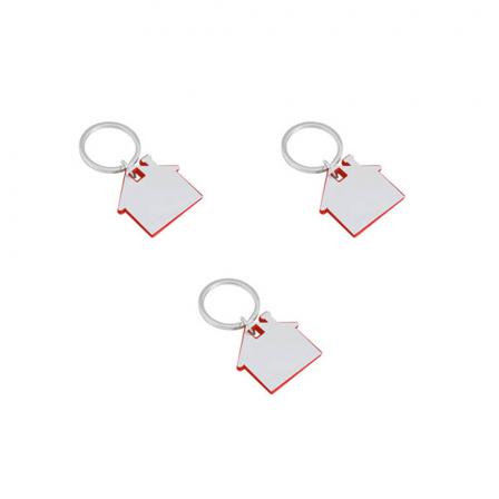 Гравиран ключодържател къща с червена рамка