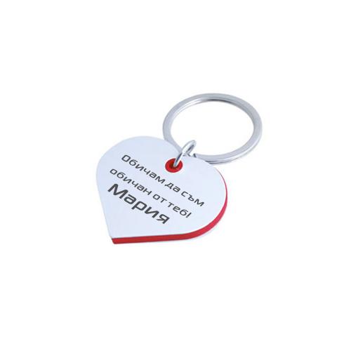 Гравиран  ключодържател сърце с червена рамка