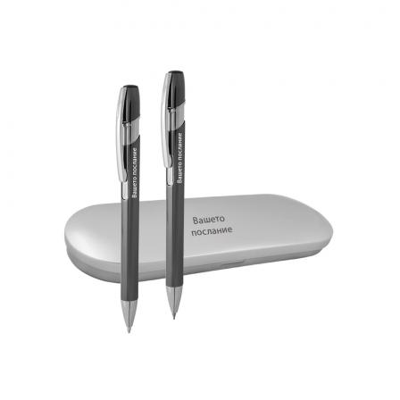 Гравиран Комплект химикал и автоматичен молив в метална кутия
