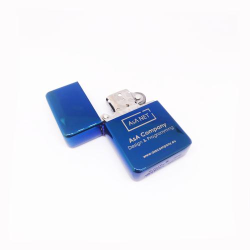 Бензинова метална запалка в цвят синьо