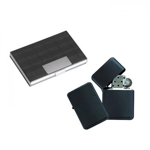 Комплект метална запалка + Кожен визитник